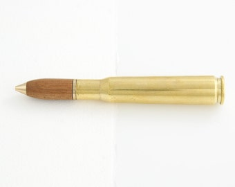 Authentic 50 Caliber Machine Gun Bullet Pen with Pyinma Wood Bullet - handmade