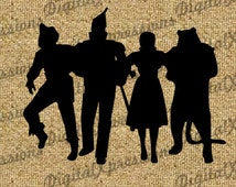 Wizard of Oz Group Silhouette Digital Image Download Oz Digital Image Transfers to Totes Pillows Shirts Blankets Burlap JPEG PNG