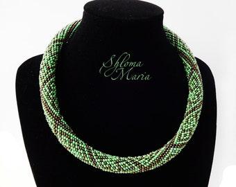 "Bead Crochet Necklace ""Tree snake"""