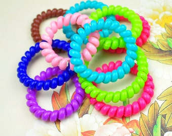 20pcs Elastic Solid Hair Ties--Telephone Cord,Assorted color Cutie Plastic rubber ponytail Holders--hair accessories