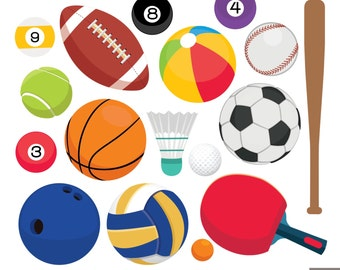 Sport Balls Clipart, Football Clipart, Tennis Clipart, Bowling Ball, Basket Ball, Golf Clipart