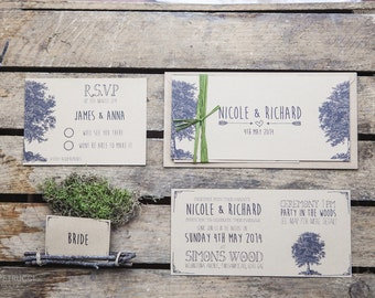 Woodland Rustic Wedding Invite and RSVP