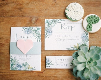Watercolour Succulent Wedding Invite and RSVP