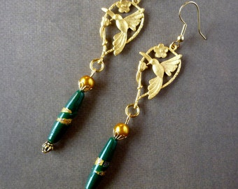 """Earrings """"Gold Birds"""" gold plated bird 22Kt; vintage green and gold bead."""