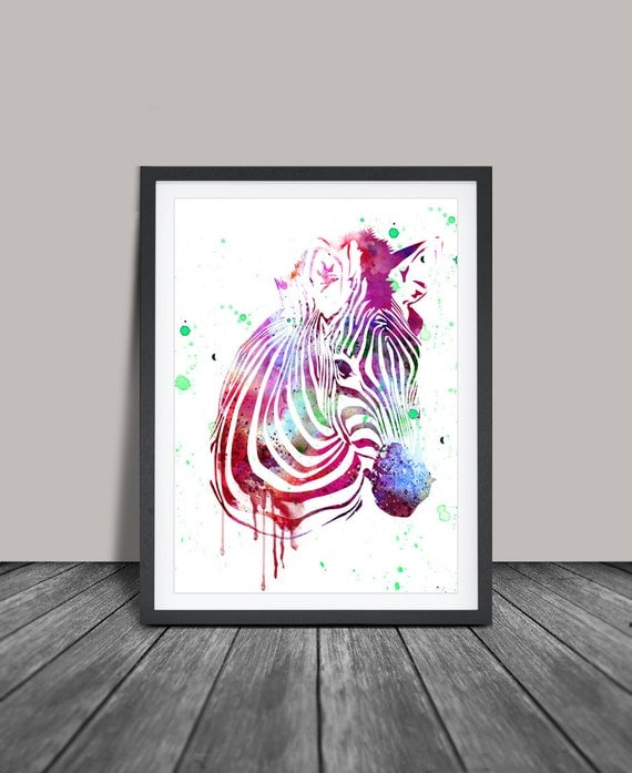 Zebra Watercolor Art Print Zebra Wall Art By Fineartcenter