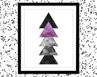 Abstract Wall Art / Digital Geometric Printable Art / Modern Home Decor / Purple and Black Watercolor Print / Silver Triangle Print