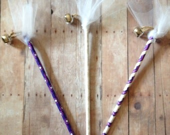 Wedding Bell Wands Favors Purple And White Wands with Bells Wedding Reception Ring Bell Bride Groom