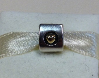 Authentic Pandora Two-Tone Heart Of Gold Charm #790305