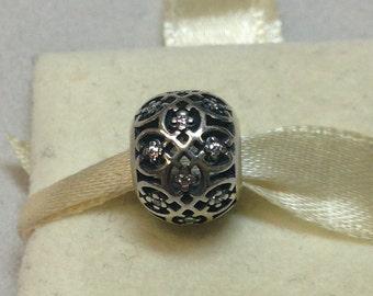 Authentic Pandora Silver Intricate Lattice Charm #791295CZ