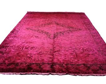 Hot Pink 10×13 Vintage Persian Heriz Rug Over-Dyed 2727