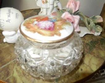 CUT GLASS DRESSER Jar with Lid
