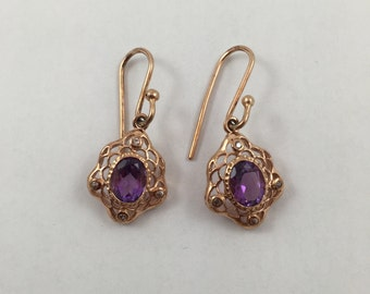 New GORGEOUS 2.80 ct Amethyst on 18K Yellow Gold and Black Rhodium over Sterling Silver Earrings
