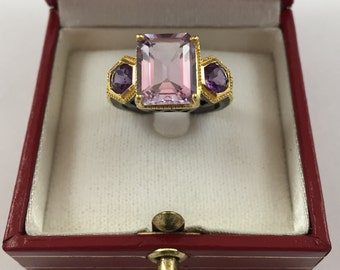 New GORGEOUS 6 ct Amethyst on 18K Yellow Gold over Sterling Silver Ring size 7