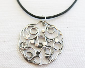 Round Notes Necklace Sterling Silver