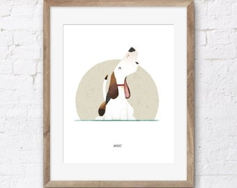Limited Edition A4 Basset Hound Art Print