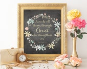 I Can Do All Things, Chalkboard Quote, Bible Verse, Philippians 4:13, Chalkboard Prints, Wall Art