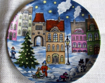VINTAGE KAISER Starry City Winter Night Plate W. Germany