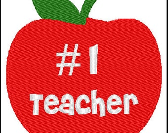 Number 1 Teacher Embroidery Design