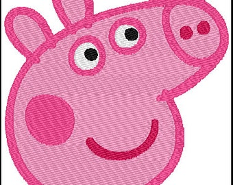 Peppa Pig Face Embroidery Design
