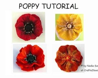Wool Felting Tutorial Pattern Poppy, felted flower brooch instructions in English, felted wool flower, wet felt, felt by hand, pdf, e-book