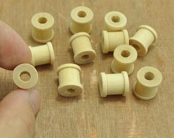 wooden mini spools,Small Mini Wood Spools Beads,Wood spools wood bead,Unfinished Natural wood wooden--11x12mm.