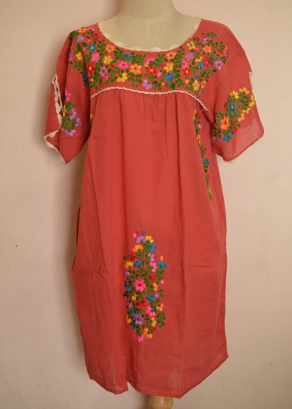 Mexican embroidered dress flora crocheted peasant cotton tunic