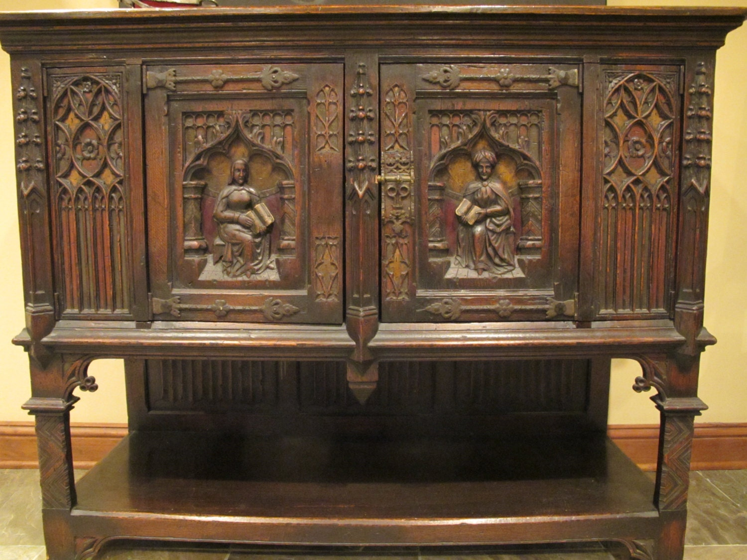 Carved Gothic Style Cabinet With Polychrome Decoration