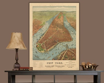 1879 New York City Map / Graphic, New York Canvas, New York Canvas, Canvas Art, New York Wall art, Vintage, New York Poster, New York Print