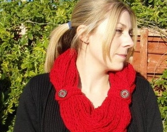 Long Red Finger Knitted Scarf With Cuff and Button Detail