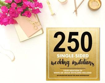 250 SINGLE-SIDED Wedding Invitations w/Envelopes