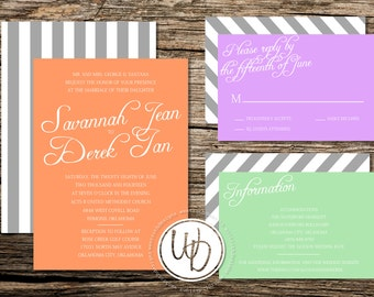 Slanted Writing Wedding Invitation, Orange Wedding Invitation, Striped Wedding Invitation, Modern Wedding Invitation, Custom Wedding Suite