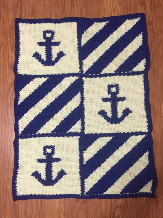 Anchor Knitting Pattern Blanket : New Handmade Nautical Anchor Royal Blue and Off White