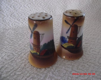 Vintage Windmill Salt and Pepper Shakers made in Japan in 1960's.