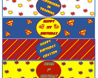 Superman Birthday Party Printable Drink Label Downloads