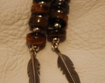Native American Tigers Eye and Silver Earrings