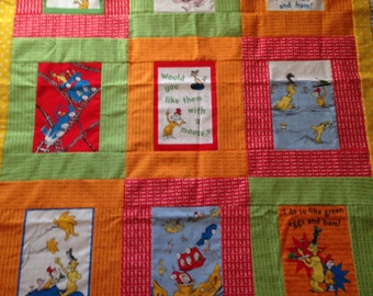Custom-made from Dr. Seuss Green Eggs & Ham Horton Cat Lorax Grinch Fabric Book Quilt Throw Comforter Blanket Baby Child Toddler Lap