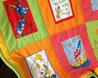 Custom-made from Dr. Seuss Green Eggs & Ham Fabric Quilt Throw Comforter Blanket Baby Child Toddler