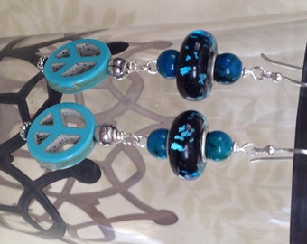Black and Blue Murano Lampwork and Turquoise Peace Earrings