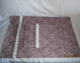 Cotton pillowcase set in purple and pink paisely floral.