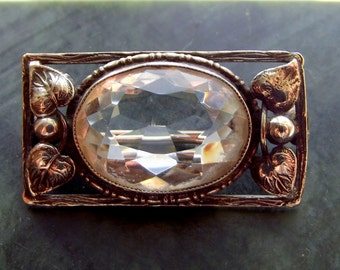 Arts and Crafts Silver and Rock Crystal Brooch 1900s.