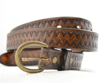 Leather belt, handmade, tooled