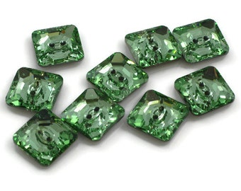 Swarovski Crystal Button 3017 Chrysolite M-Foiled 14mm Square