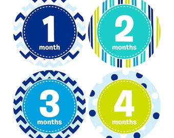 Baby Boy's 1st Year - Monthly Stickers