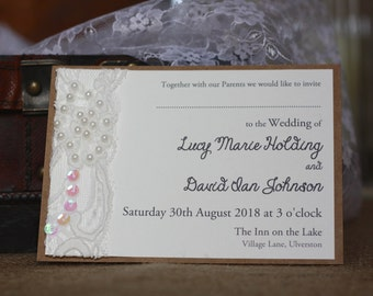 Pearlised Lace Rustic Wedding Invitation, Lace Invitation, Shabby Chic Invitation for Weddings, Parties or Christenings with envelope