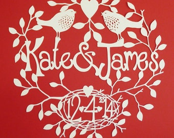 Building A Nest Personalised Wedding Hand-cut Papercut