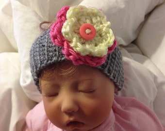 Custom Crochet Two color flower with button headband