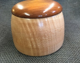Figured Maple bowl with Rosewood fitted lid.