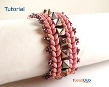 Superduo Bracelet Pattern, Pyramid Bead Bracelet, Herringbone Bracelet, Beading Pattern and Tutorial, PDF- Pyramid Row Bracelet Tutorial