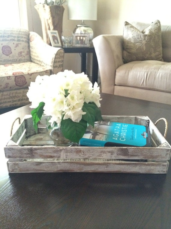 Distressed White Decorative Tray Rustic Tray By Purehomeworks: decorative trays for coffee tables