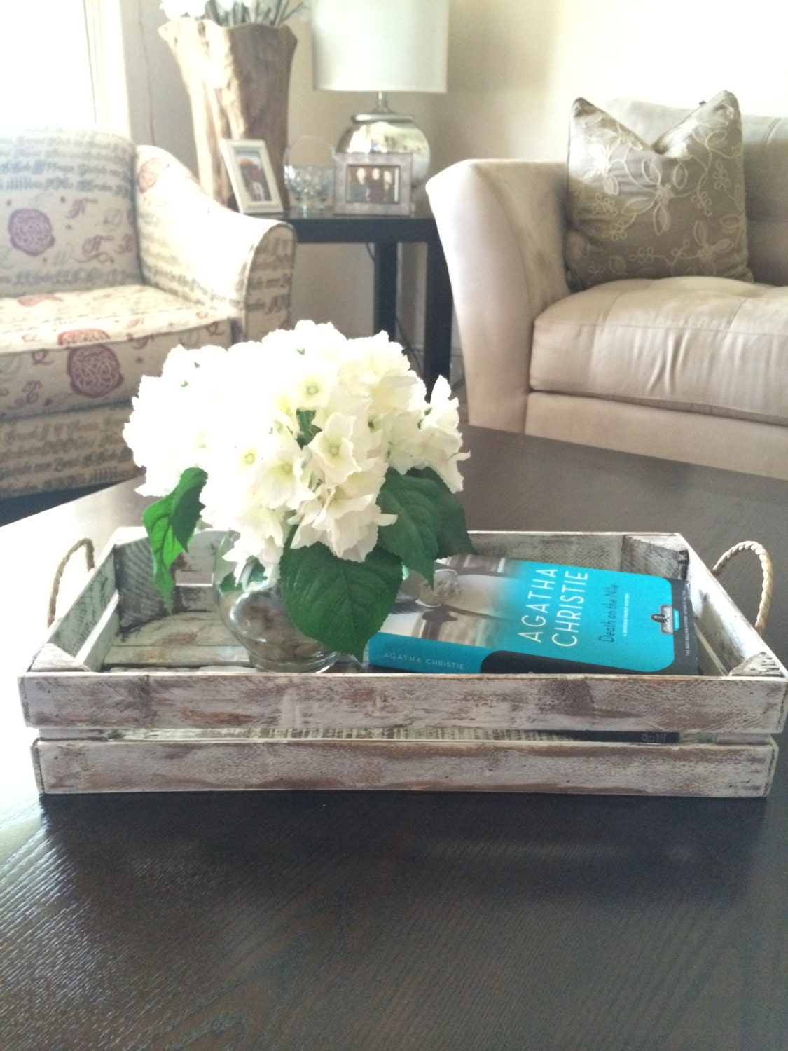Distressed white decorative tray rustic tray by purehomeworks for Room decoration items sale
